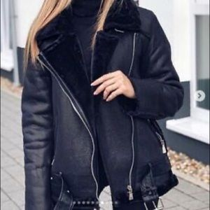 Genuine leather shearling coat